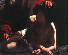 A detail of Caravaggio's Sacrifice of Isaac.