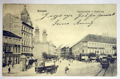 Fig. 1: Postcard of the Dohány Street Synagogue from Budapest.